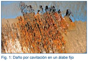 Daño por cavitación en un álabe fijo en industria hidroeléctrica